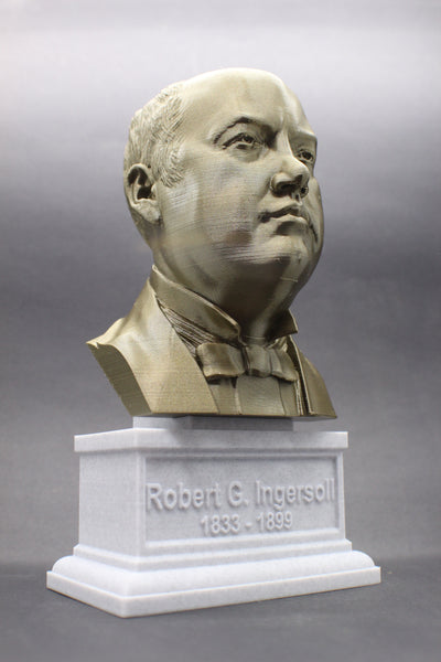 Robert G. Ingersoll Famous American Lawyer Sculpture Bust on Box Plinth