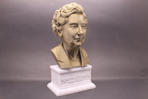 Agatha Christie, Famous English Writer, Sculpture Bust on Box Plinth