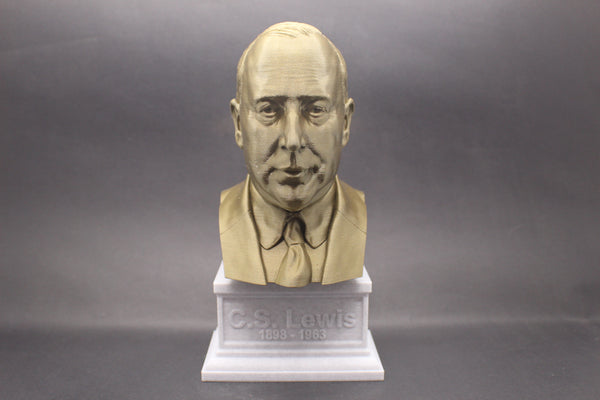 C.S. Lewis, Famous British Writer, Sculpture Bust on Box Plinth