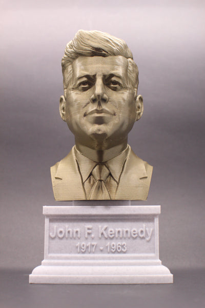 John F. Kennedy, 35th US President, Sculpture Bust on Box Plinth