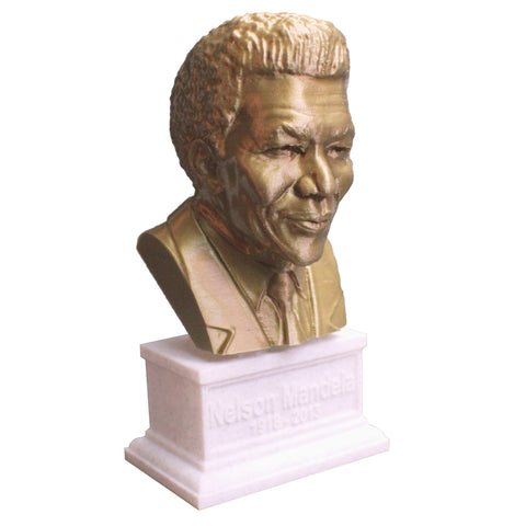 Nelson Mandela South African Anti-Apartheid Revolutionary Sculpture Bust on Box Plinth