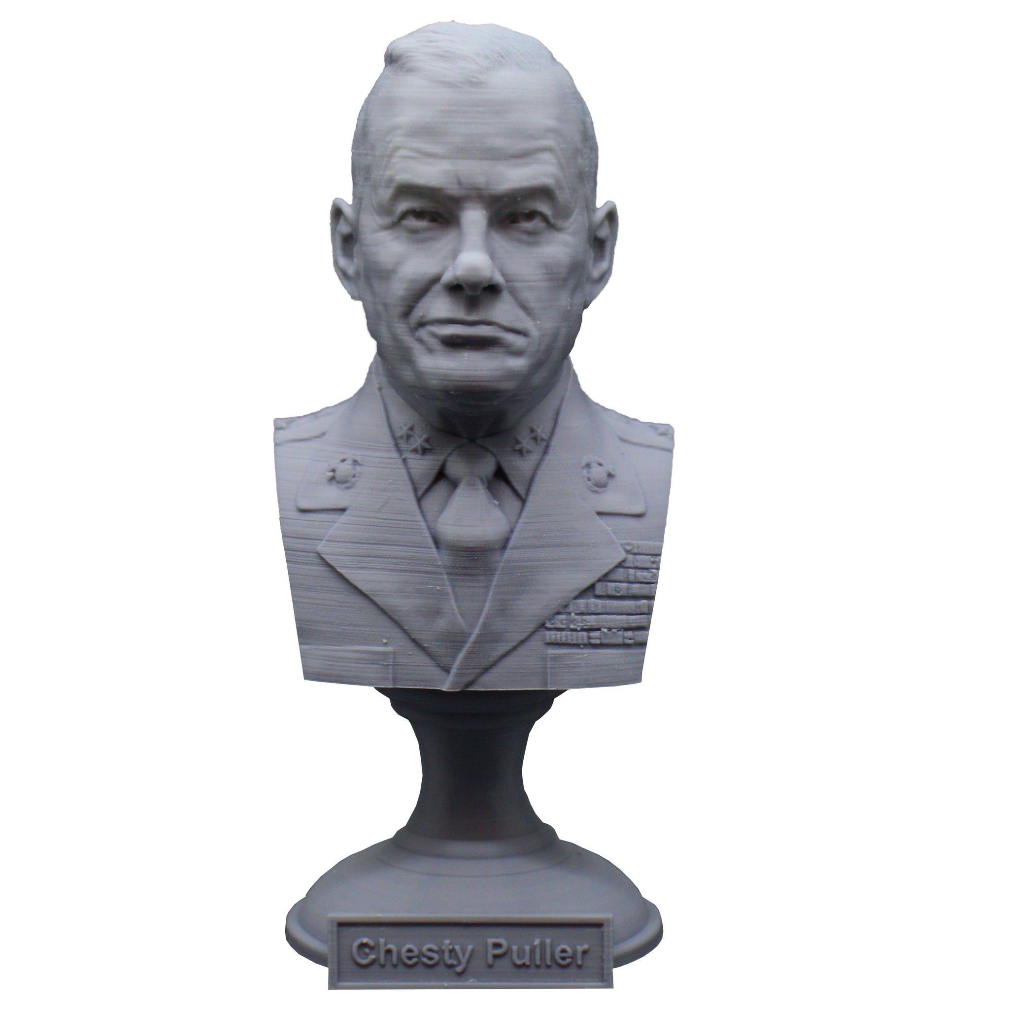 "Lewis Burwell ""Chesty"" Puller Legendary US Marine Corps General Sculpture Bust on Pedestal"
