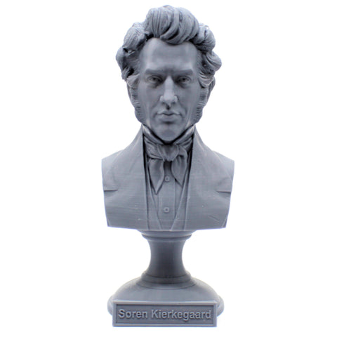Søren Kierkegaard Danish Existentialist Philosopher Sculpture Bust on Pedestal