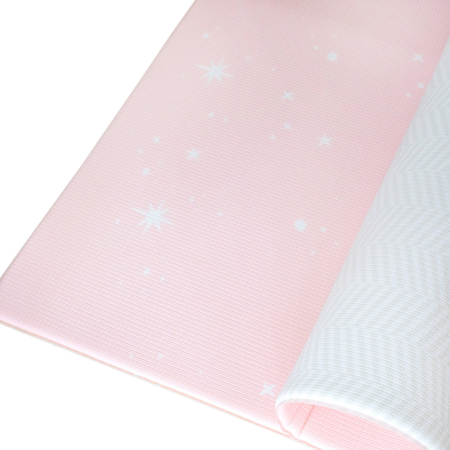 Dreamy Blush / Herringbone Gray : Petite Size Play Mat - Bambamkids.co