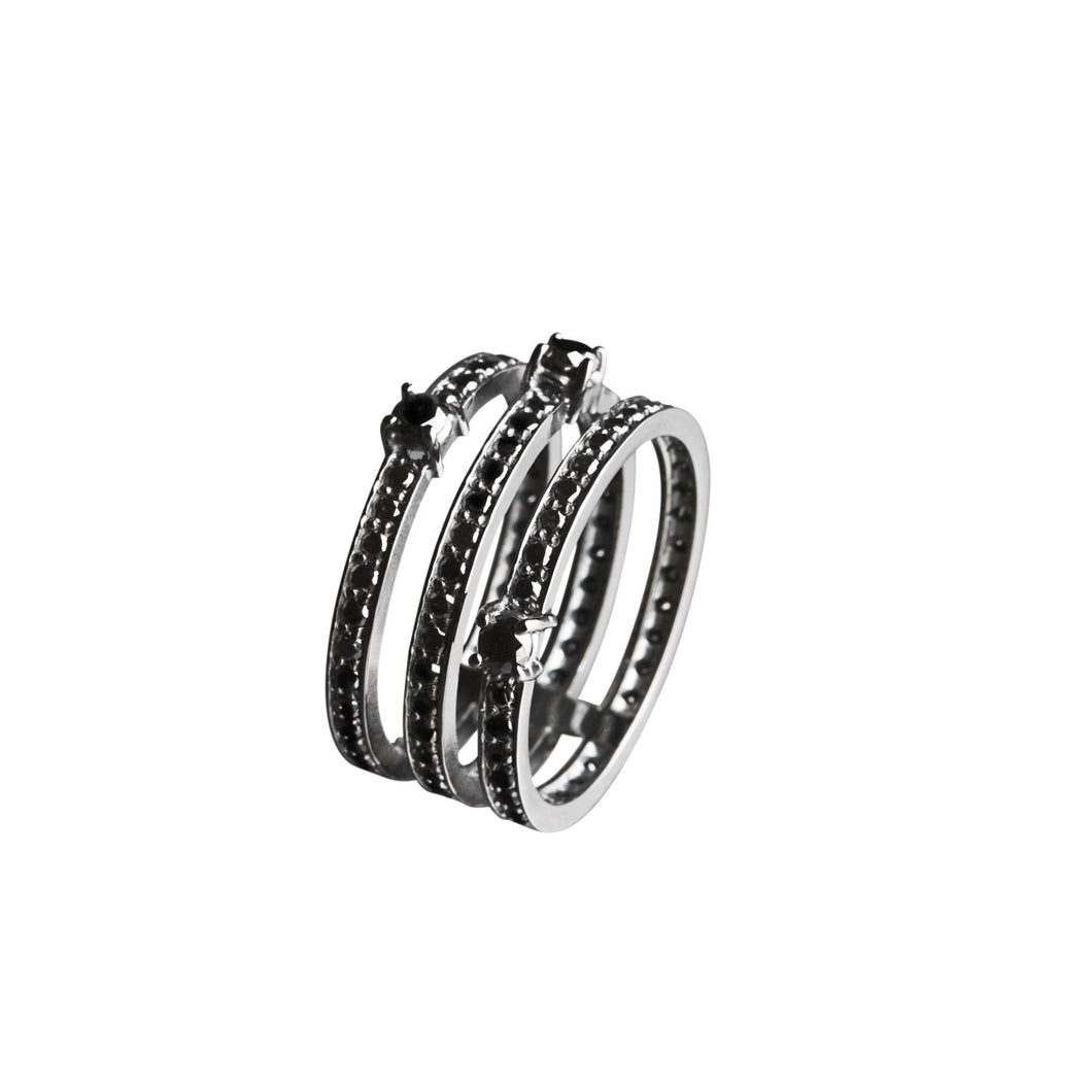 Black Gold Ring - 3 Hoops
