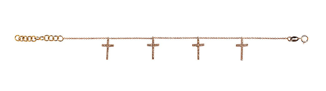 Mini Crosses Bracelet - Rose Gold