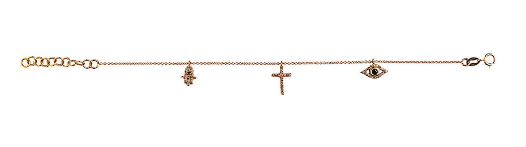 3 Mini Charms Bracelet - Rose Gold