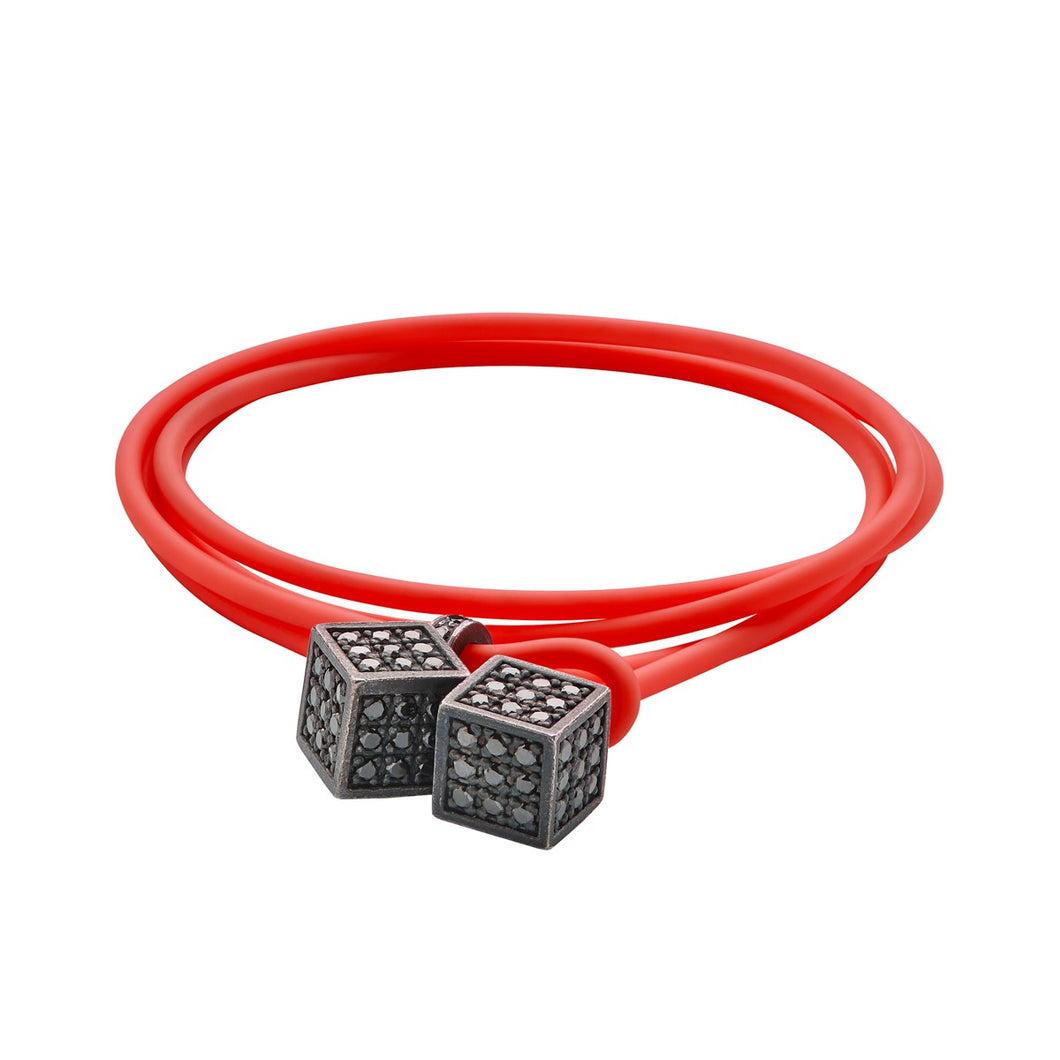 Dices - Silver & black - Red rubber