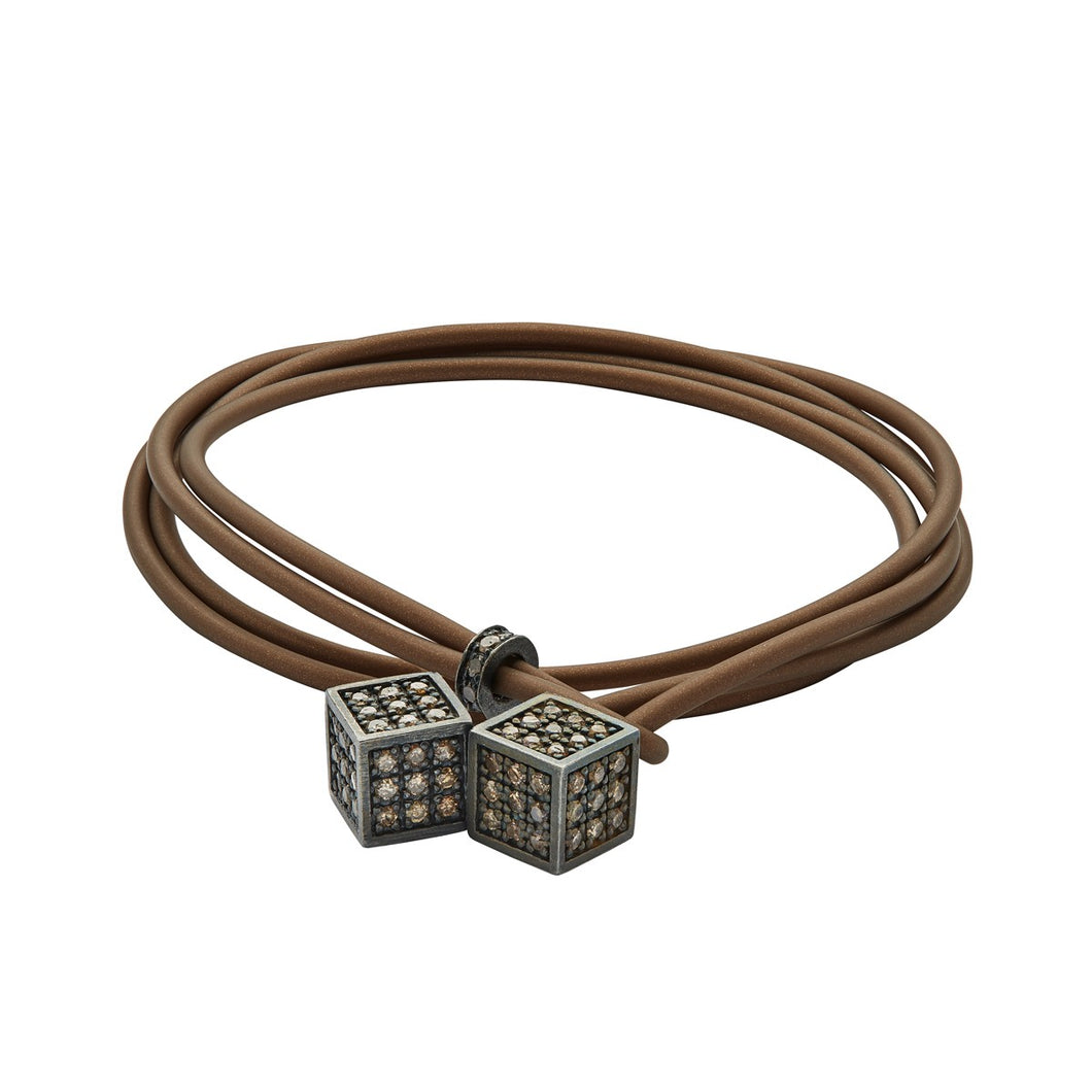 Dices - Silver & brown - Brown rubber