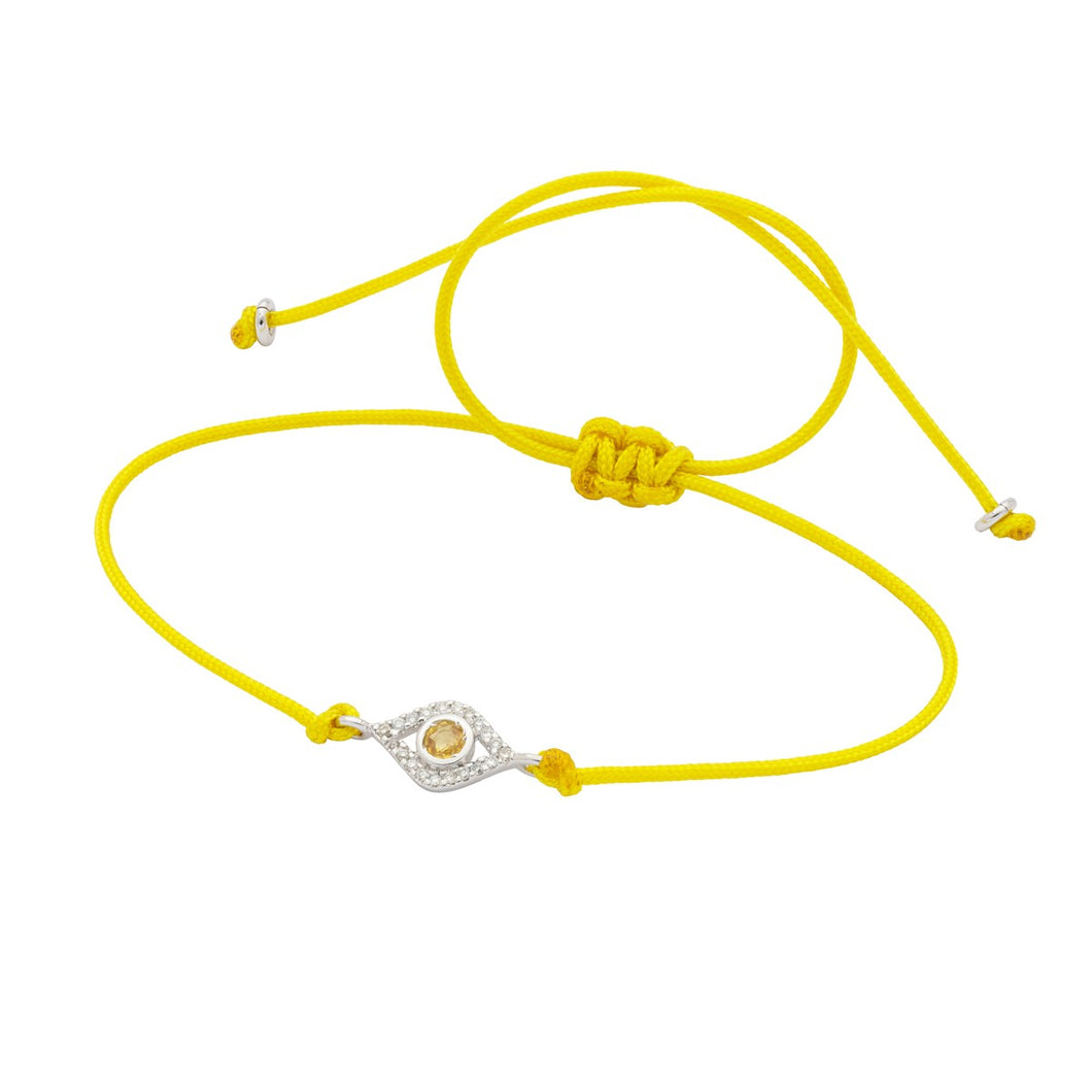 Mini Evil Eye Yellow Bracelet - White Gold