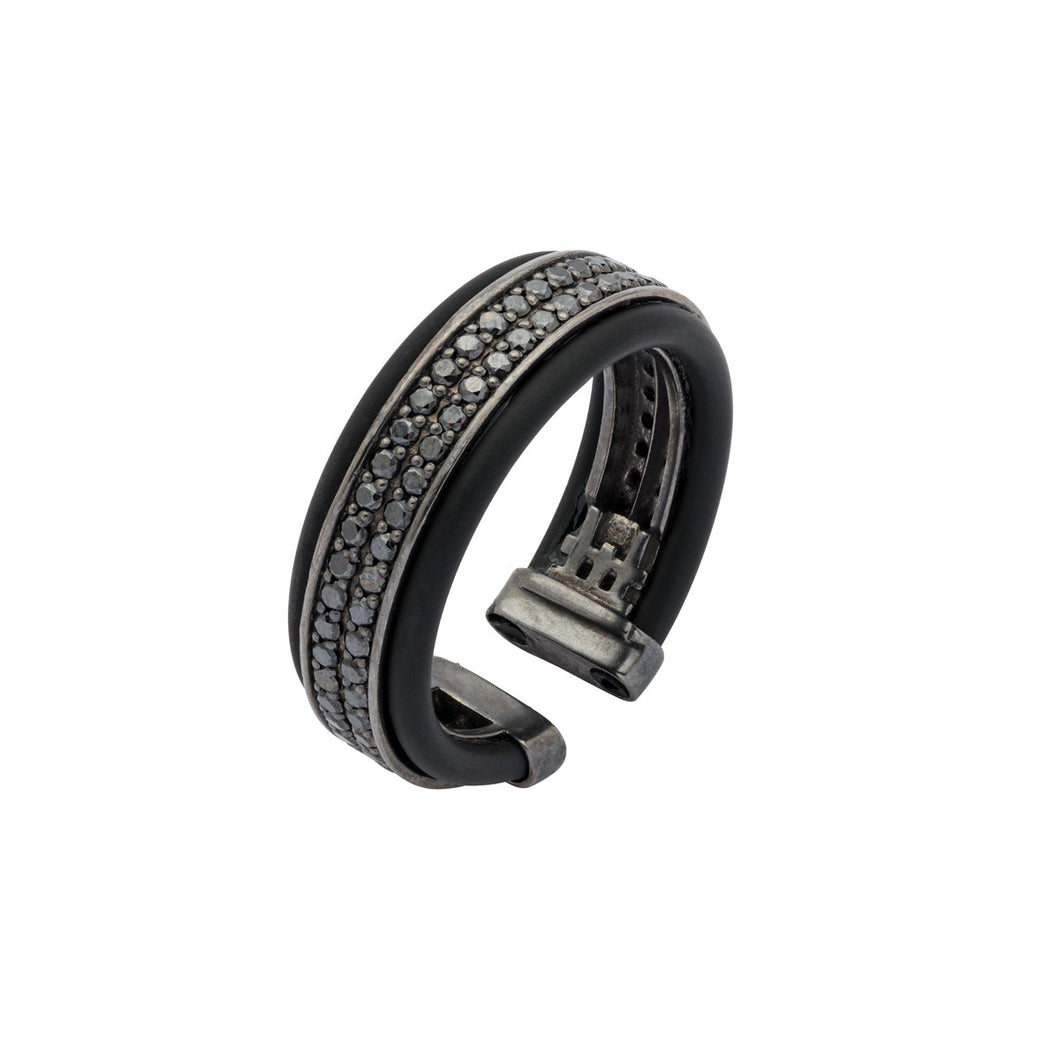 Protecting Silver Ring - black rubber