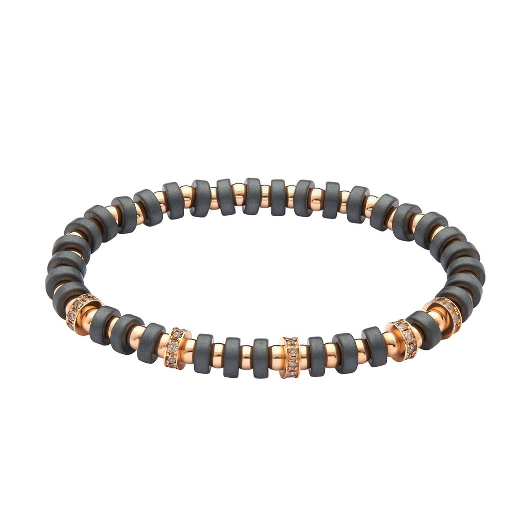 Multistopper Bracelet with Rose Gold and Hematite