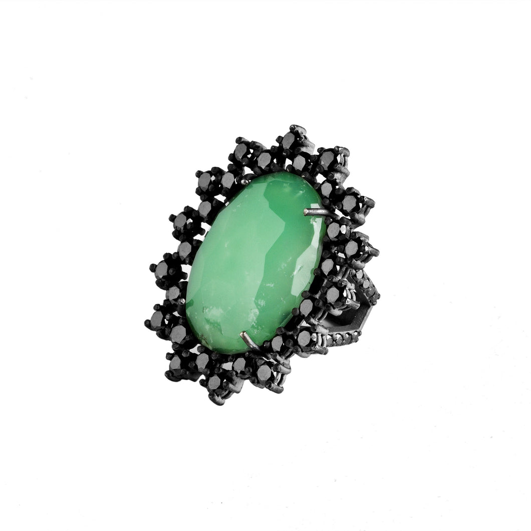 Chrysoprase ring - silver & black diamonds bezel