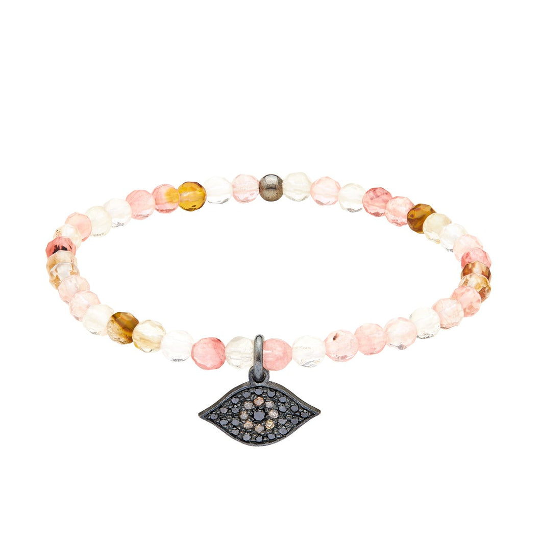 Energy bracelet - Cherry Quartz with Evil Eye Charm