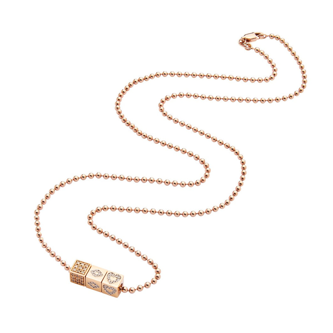 3 Rose Gold dices - beads necklace
