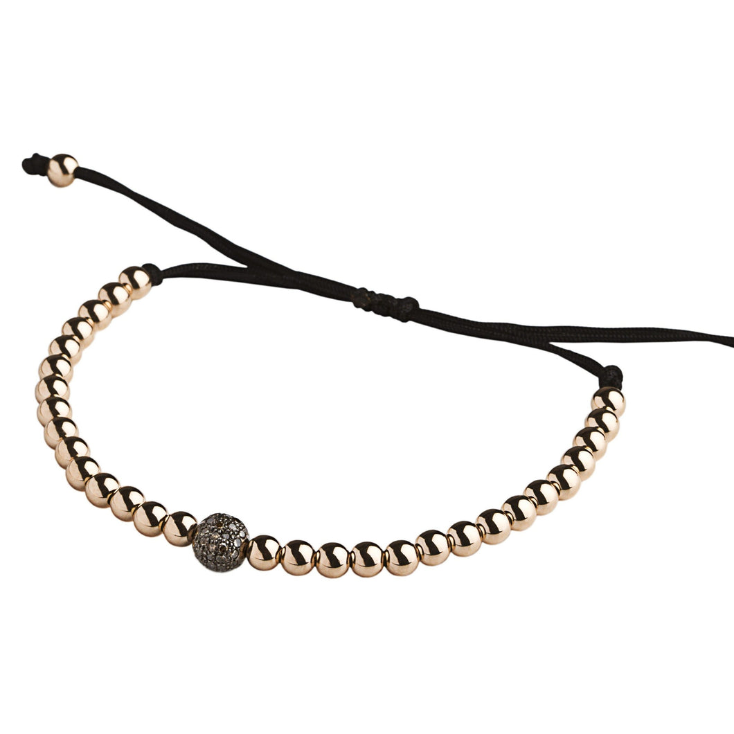 1 brown diamonds silver bead & rose gold