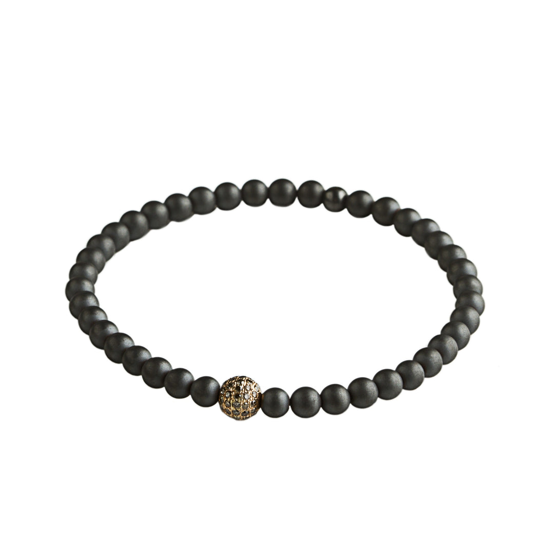 Hematite - 1 bead rose gold & brown