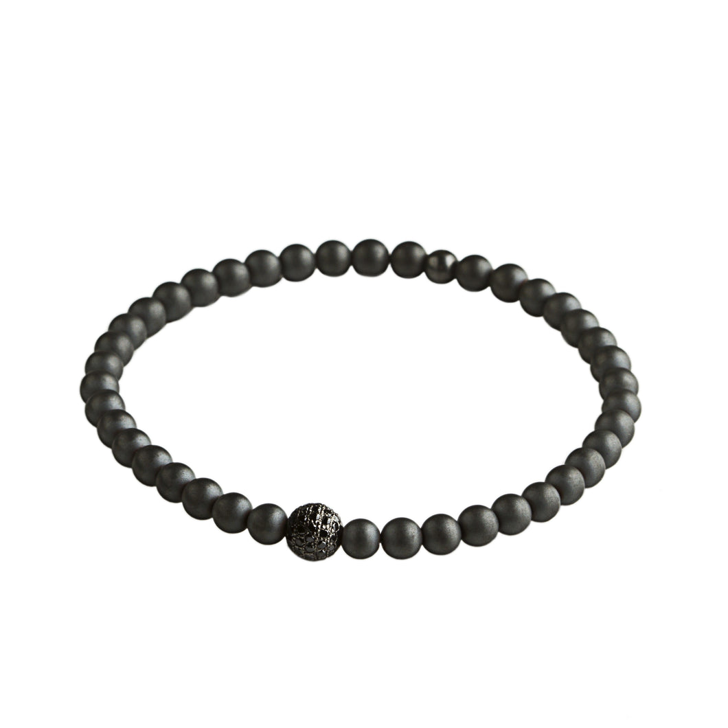 Hematite - 1 bead silver and black