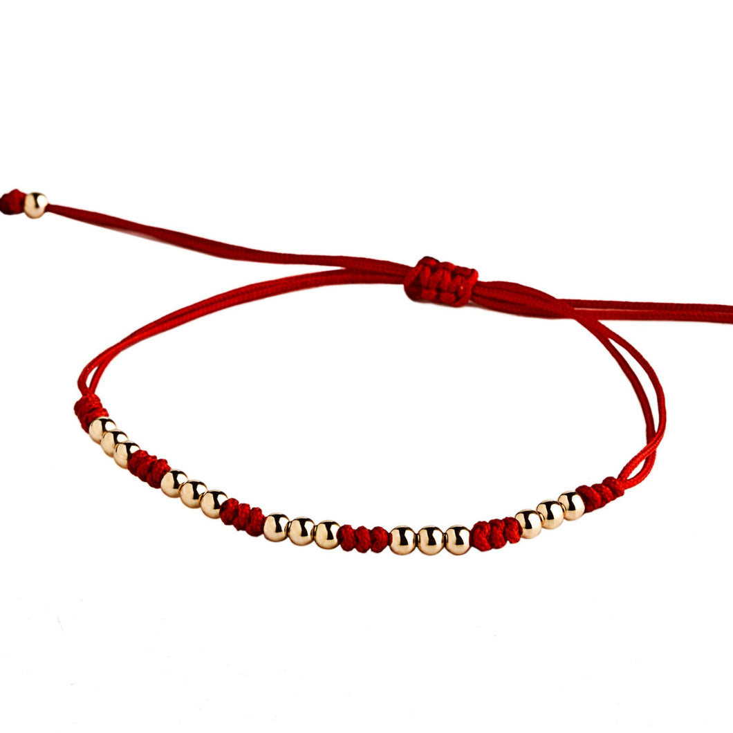 15 rose gold beads -red macrame