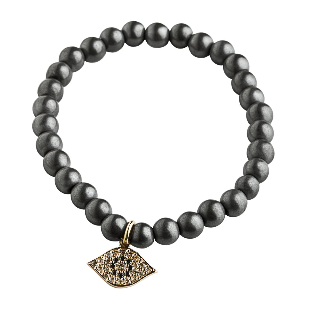 Evil eye hematite bracelet - rose gold