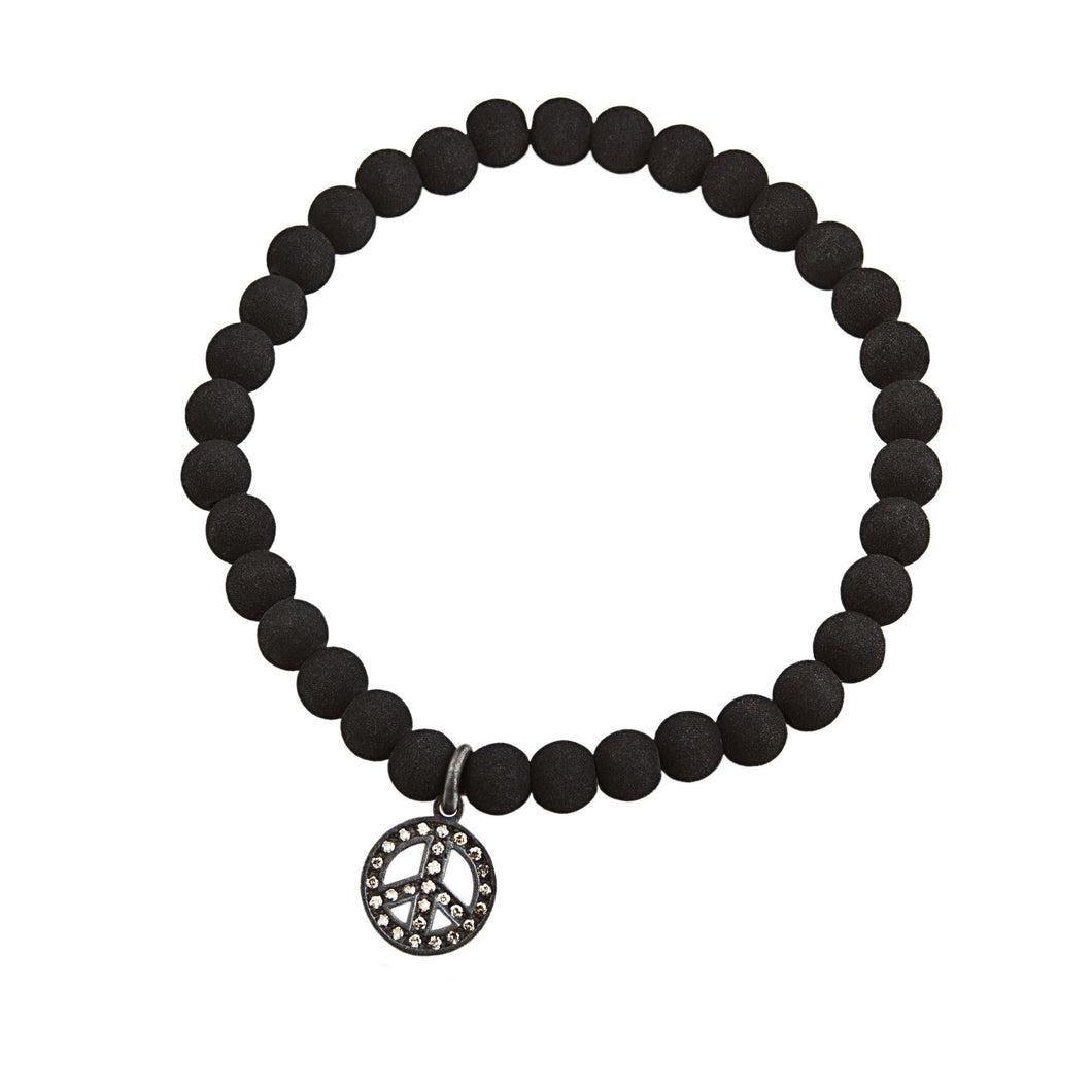 Peace lava bracelet - silver & brown
