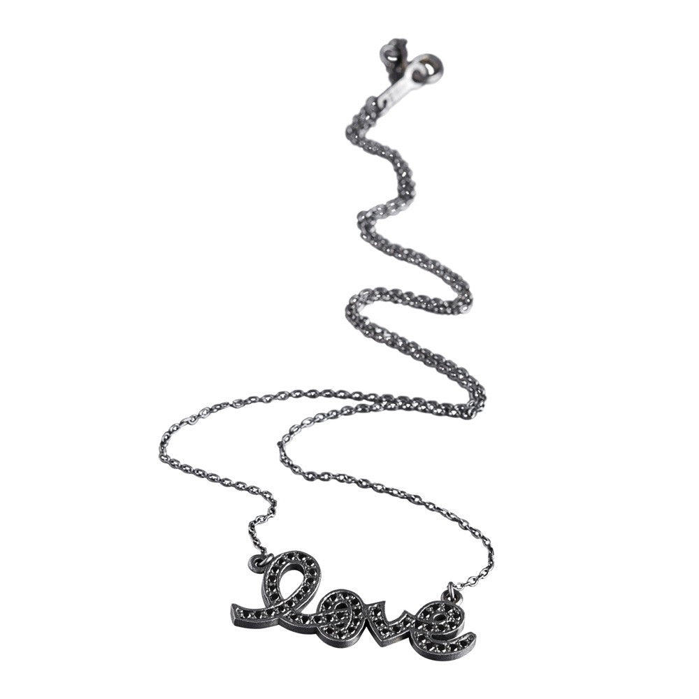 Silver & Black - Love Necklace