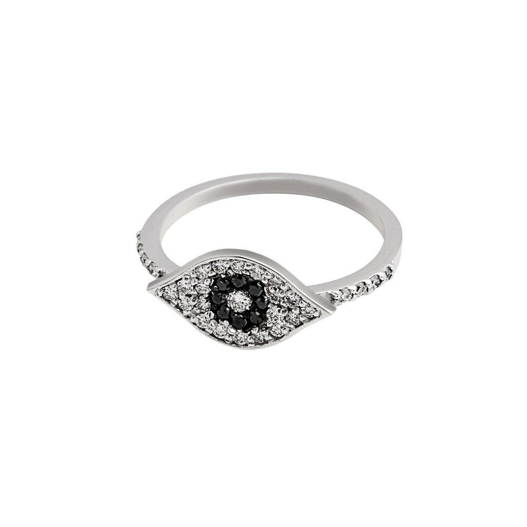 Evil eye ring - white gold