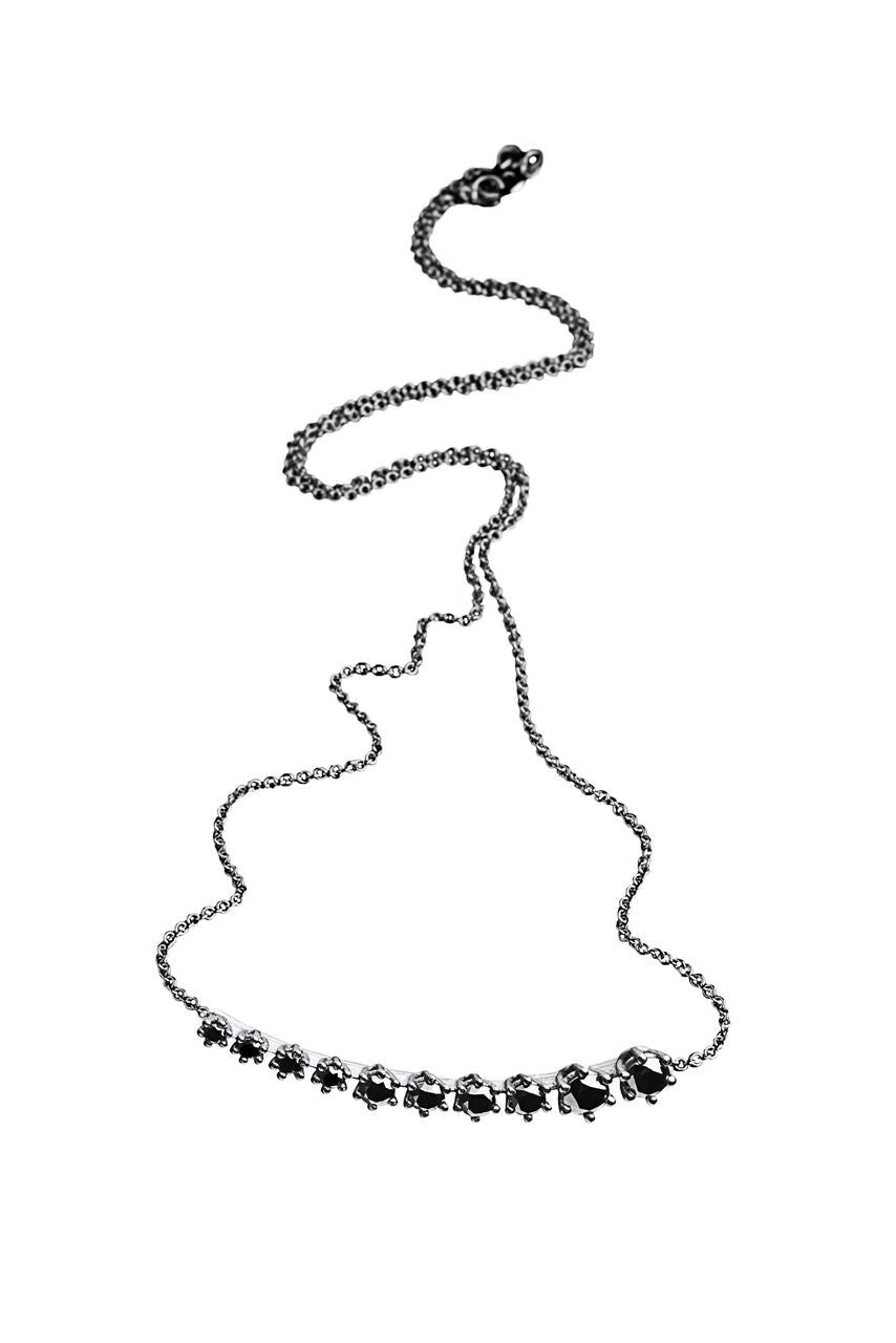 Silver and Black Diamonds Degrade Necklace