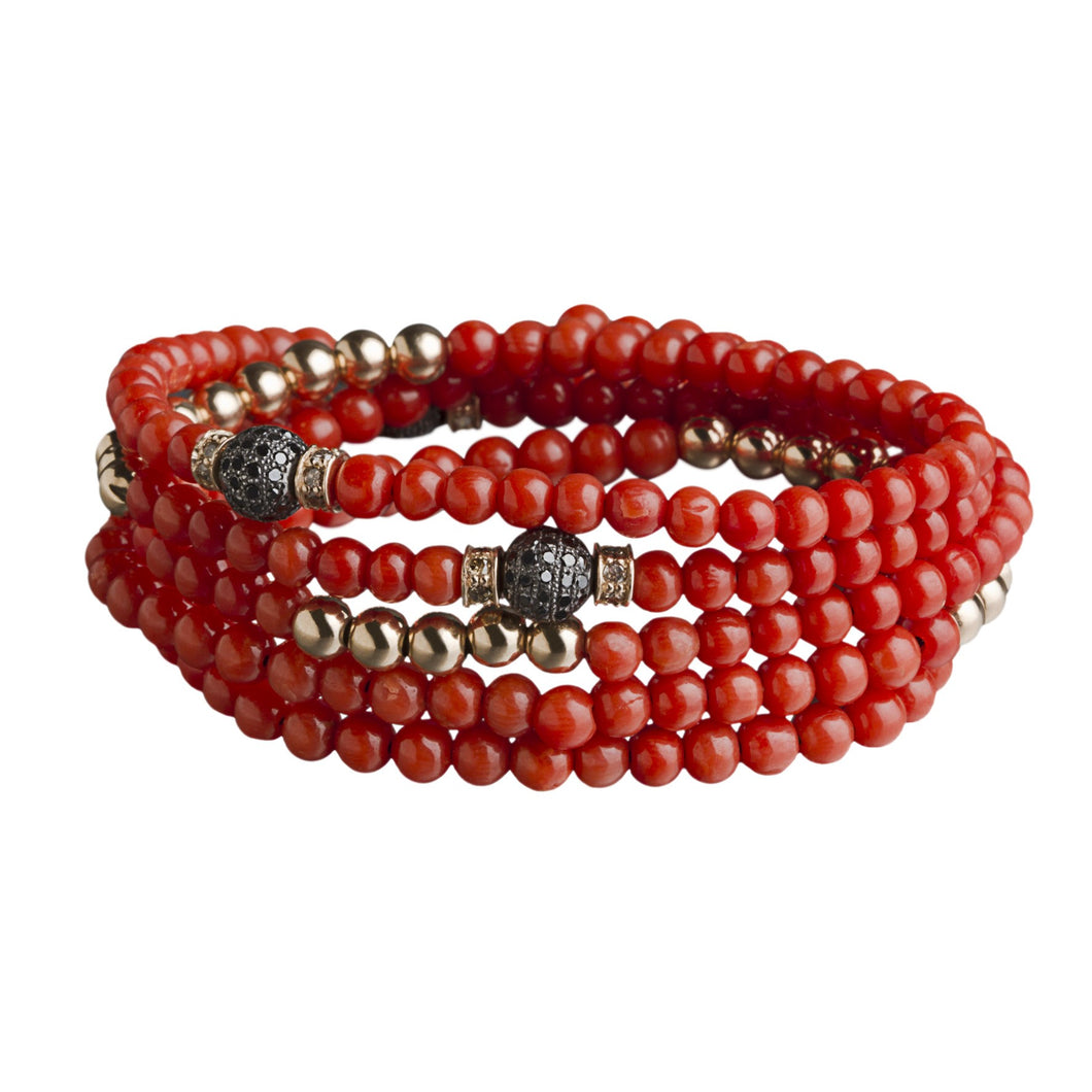 4 Tours Beads Bracelet/Necklace - Coral