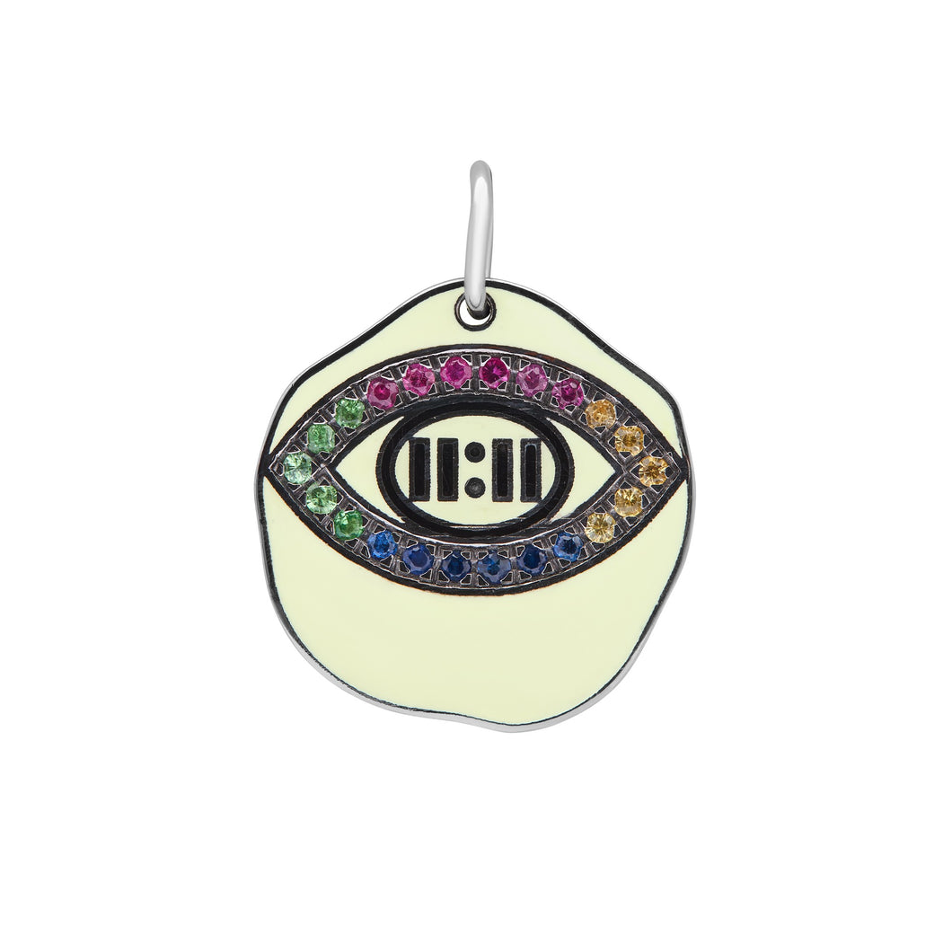 EVIL EYE YELLOW ENAMEL PENDANT