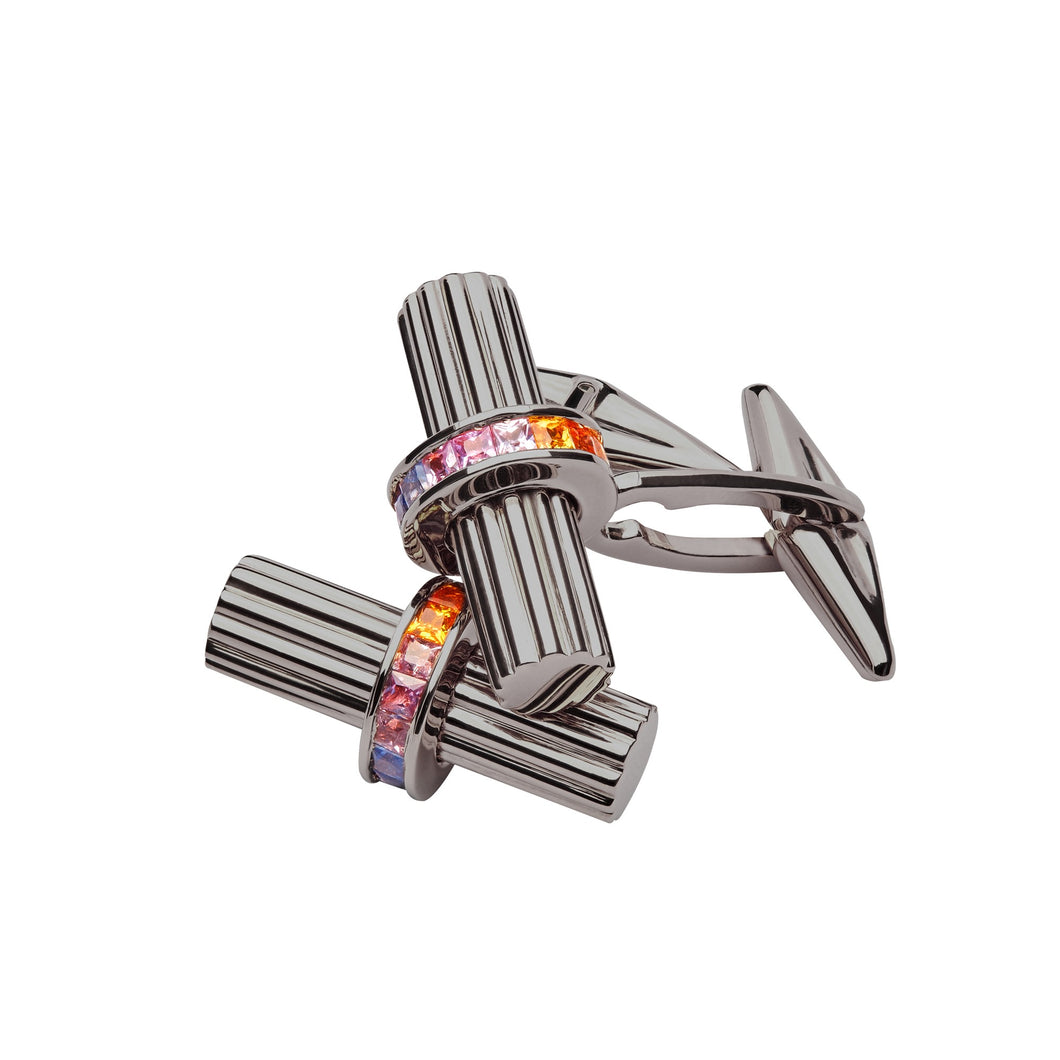 SILVER BLACK RHODIUM & RAINBOW SAPPHIRES CUFFLINKS