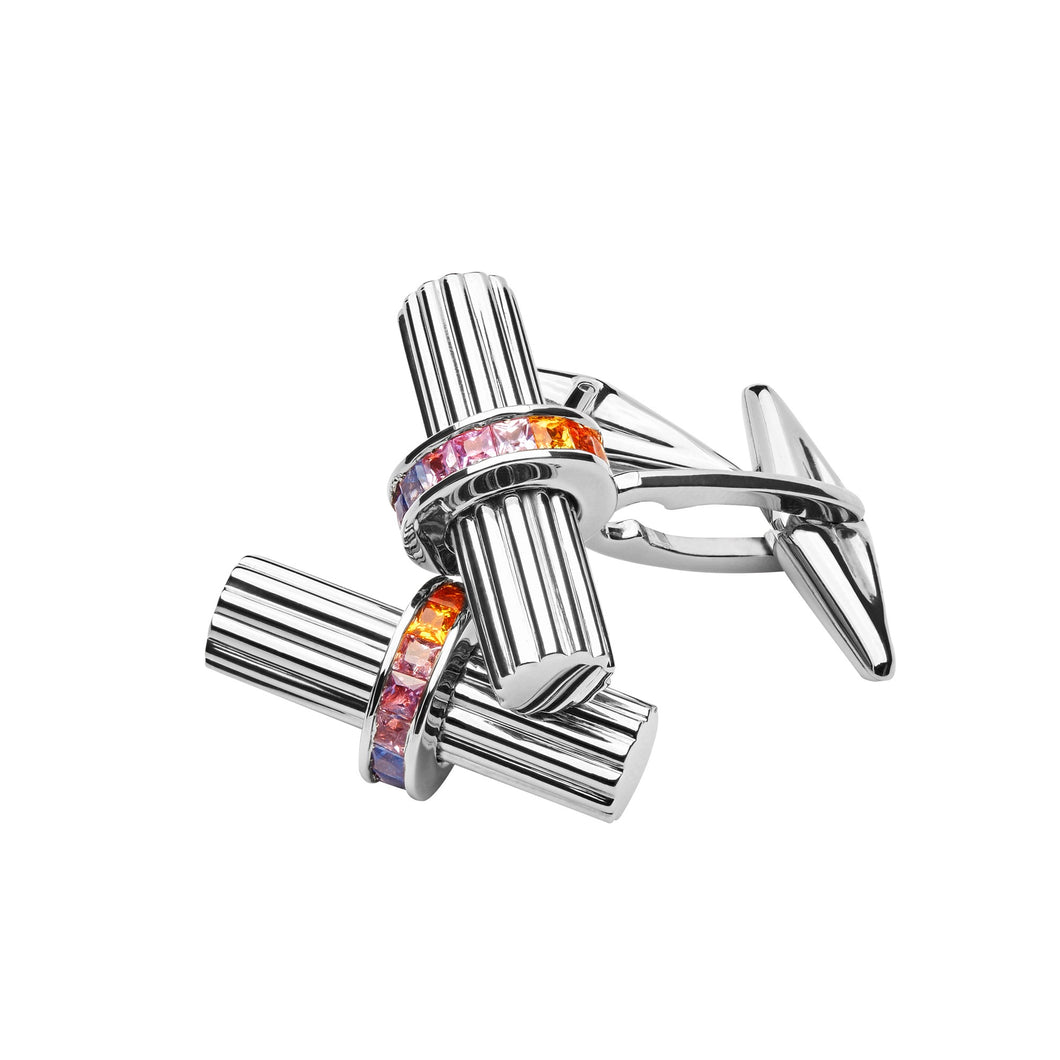 WHITE GOLD & RAINBOW SAPPHIRES CUFFLINKS