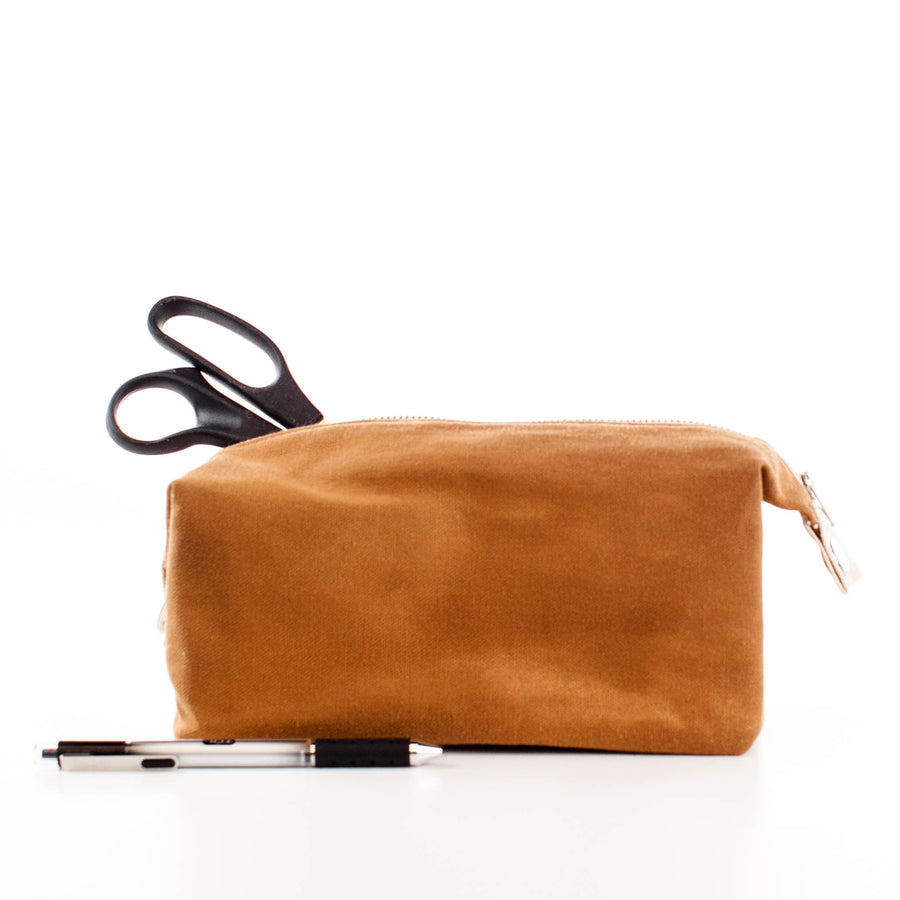 Caramel Toiletry Waxed Canvas Bag