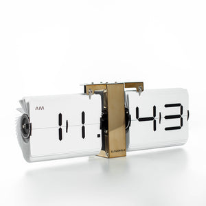 Open image in slideshow, Mid-Century Modern Flip Clock Gold + White