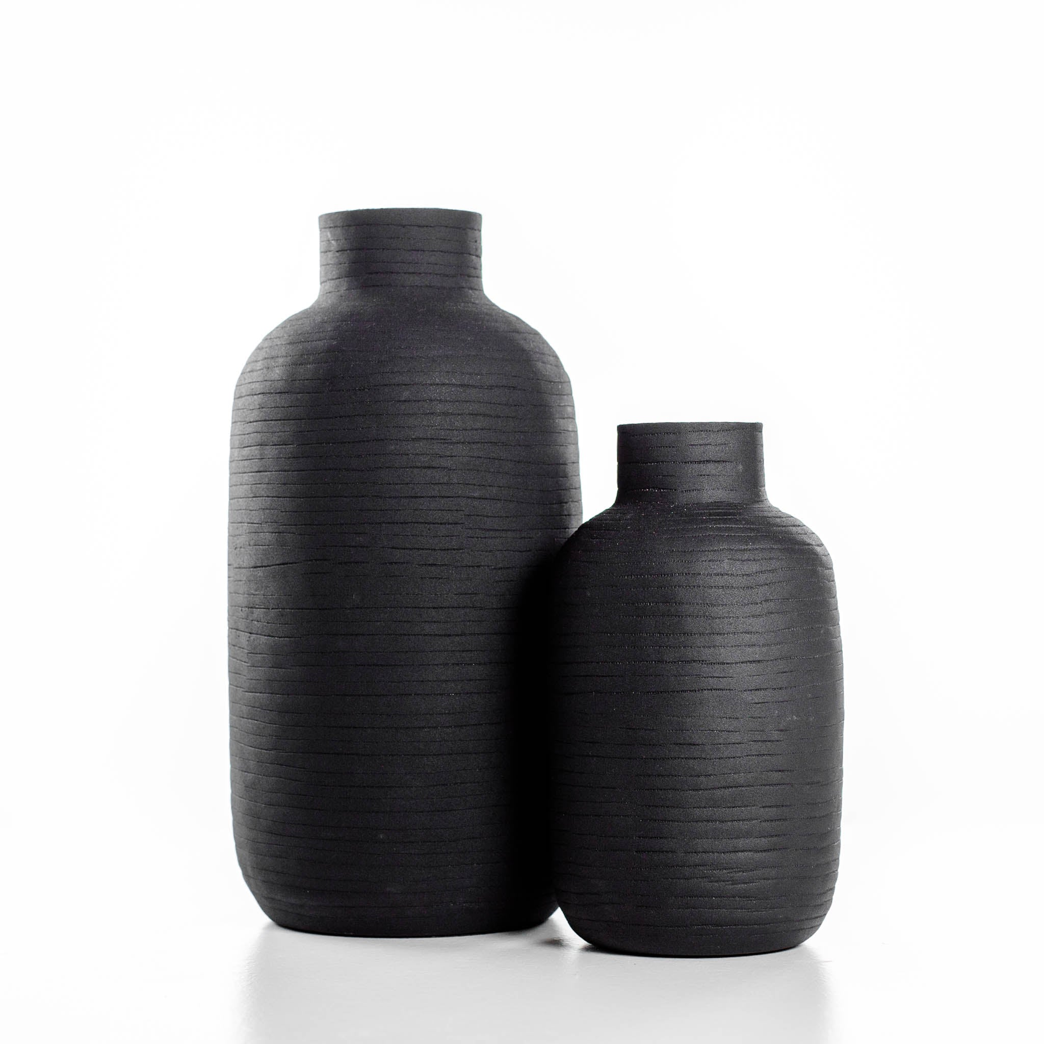 Oblong Black Ceramic Vase