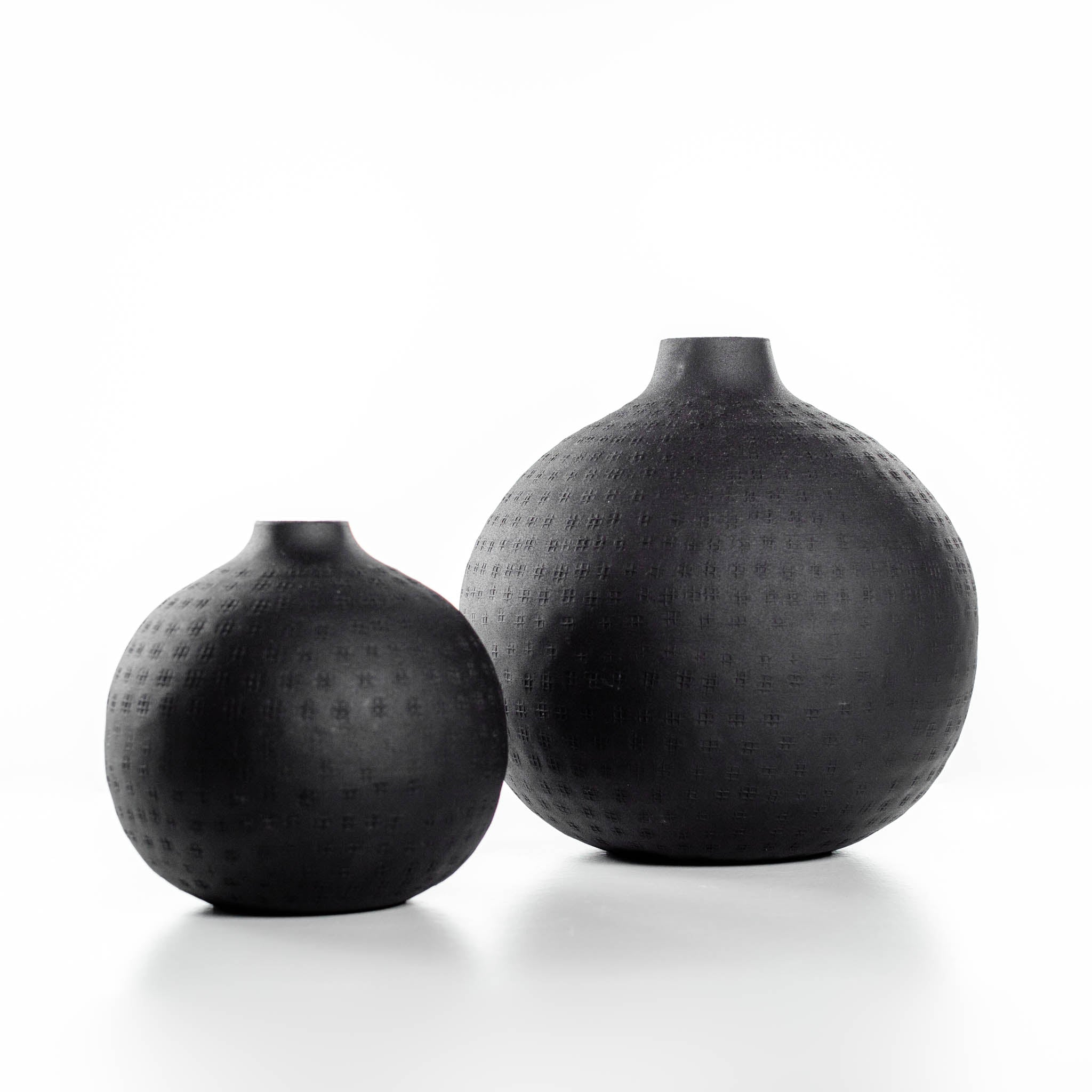Round Black Ceramic Vases