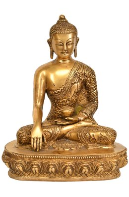 Buddha Seated in Bhumisparsha Mudra (Robes Ornately Decorated with Auspicious Symbols and Jataka Animals)