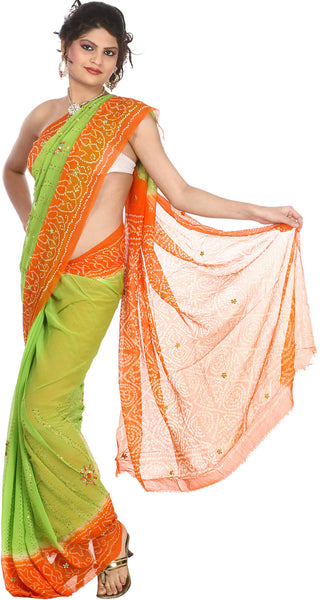 Light-Green and Orange Bandhani Tie-Dye Sari from Gujarat with Embroidered Sequins