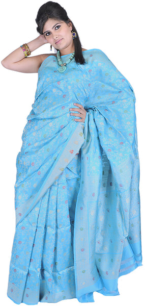 Blue Atoll Banarasi Sari with with All-Over Hand-woven Flowers and Brocaded Aanchal