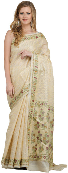 Golden and Beige Tissue Sari from Banaras with Woven Flowers on Border