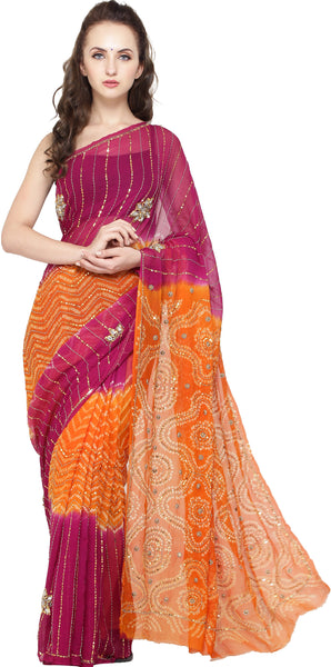 Pink and Orange Shaded Bandhani Tie-Dye Sari with Embroidered Sequins and Crystals