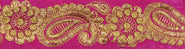Raspberry-Rose Velvet Fabric Border with Zari-Embroiderd Flowers and Paisleys