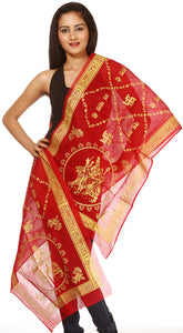 Ribbon-Red Jai Mata Di Prayer Scarf