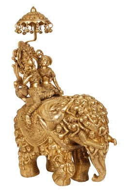 Radha and Krishna Riding on Elephant Made of Lady Figures