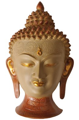 Lord Buddha Wall Hanging Mask (Forehead Engraved with Auspicious Symbols)