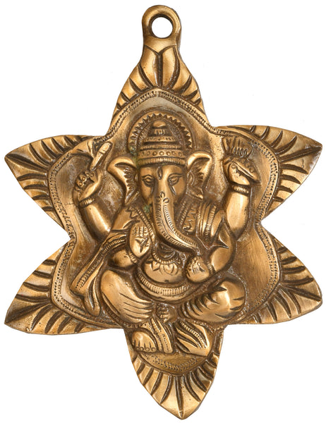 Wall-Hanging Lord Ganesha Nestled In Star-Shaped Leaf
