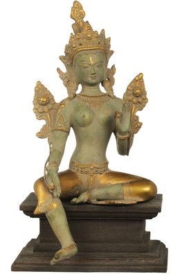 Tibetan Buddhist Deity Green Tara, Steeped In Dhyana On A Wood Pedestal