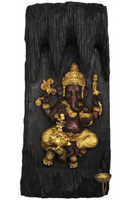 Temple Ganesha Carved in Wooden Plank