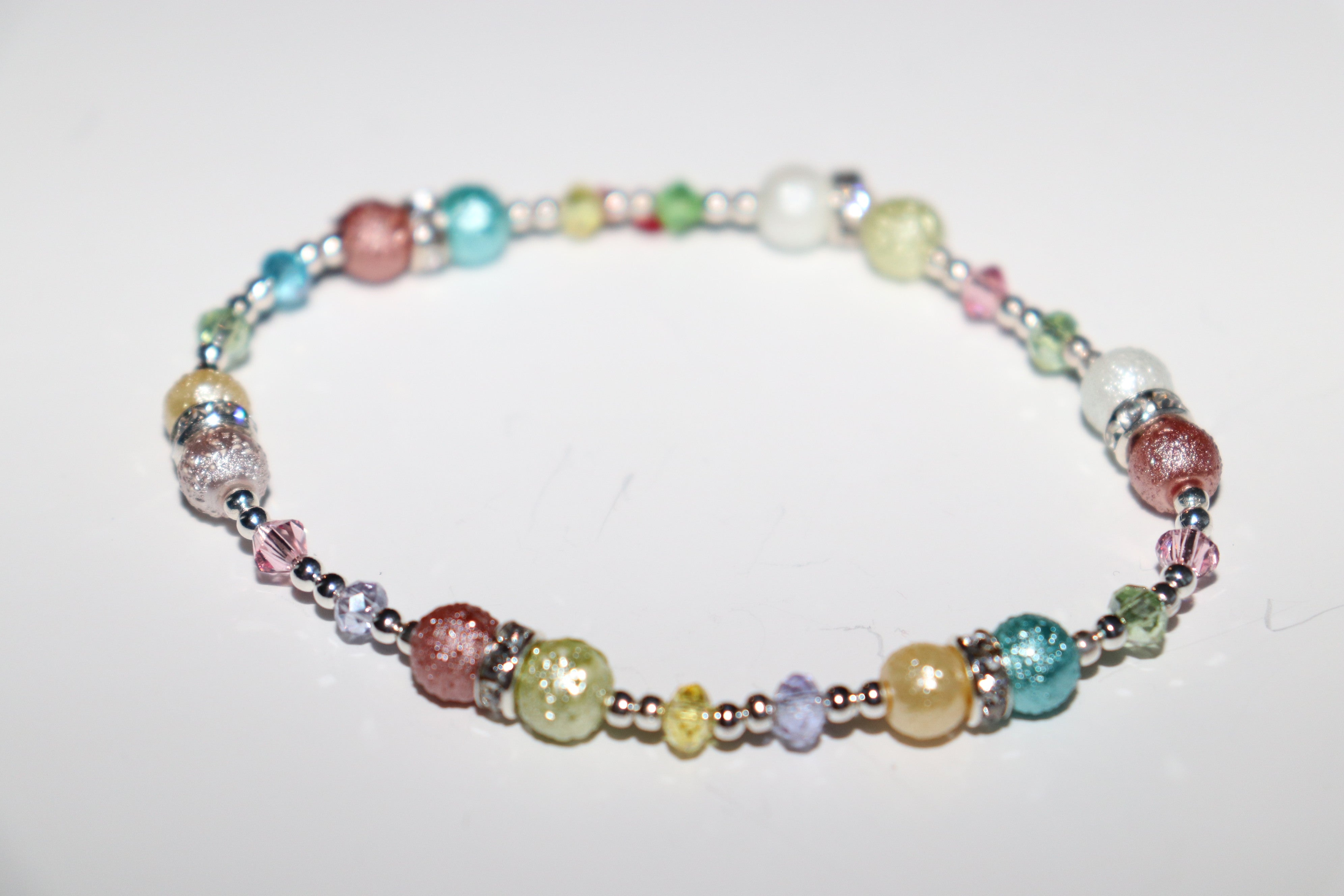 Beautiful Tourmaline and Zircon elastic girls bracelet Fashion 2020, Silver .925