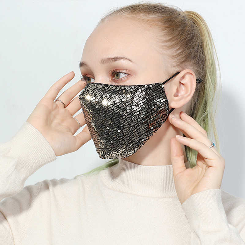 Her Cover mouth with glitter sequins, decorative masks for special occasions